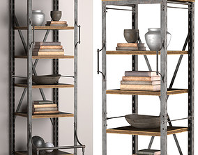 Narrow Bookcase French Library 3D model