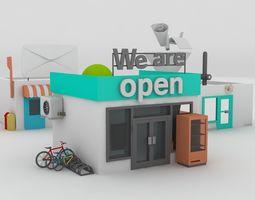 small town buildings 3D asset