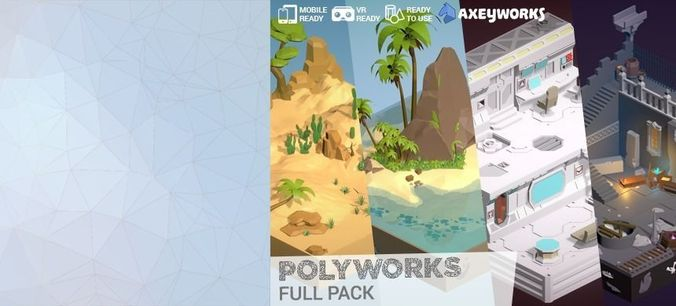 polyworks full pack 3d model low-poly fbx unitypackage prefab mat 1