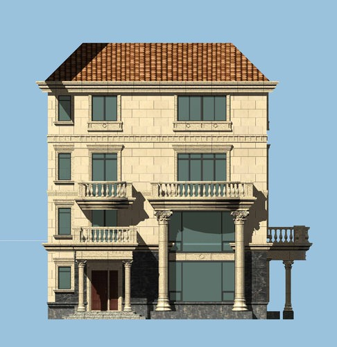 Palatial house infrastructure 3d model
