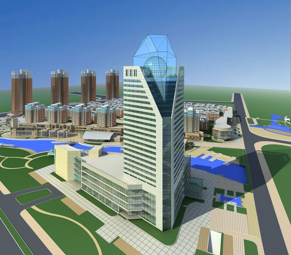 High Rise Building With Artistic Roof Top 3d Model Max 3ds