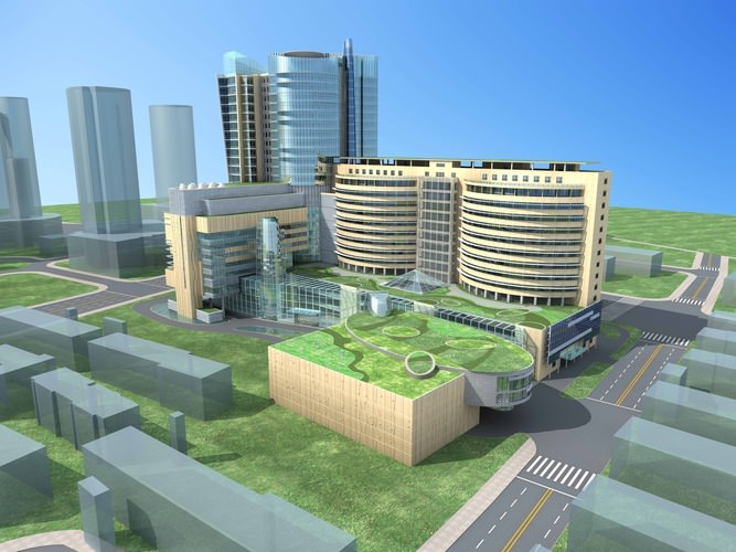 High Rise Buildings With Eco Friendly Roof Top 3d Model Max