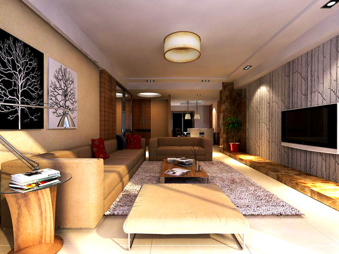 Living Room With Exquisite Wall Painting 3d Model