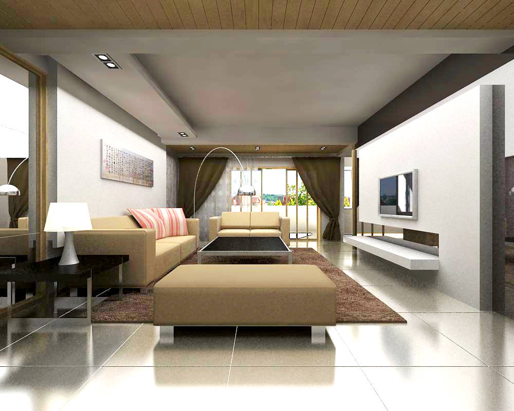 Living space with posh sofas 3d model max - Sofas small spaces model ...