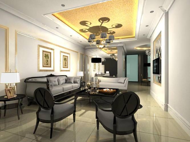 Posh Living Hall With Decor 3D Model