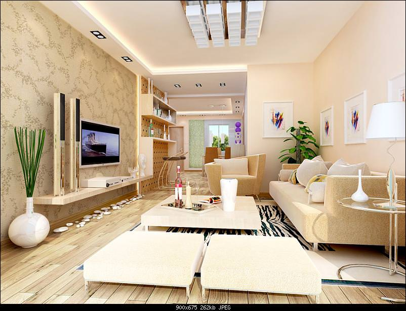 Living room with decorated wall 3d model max cgtradercom for Decorated walls living rooms model