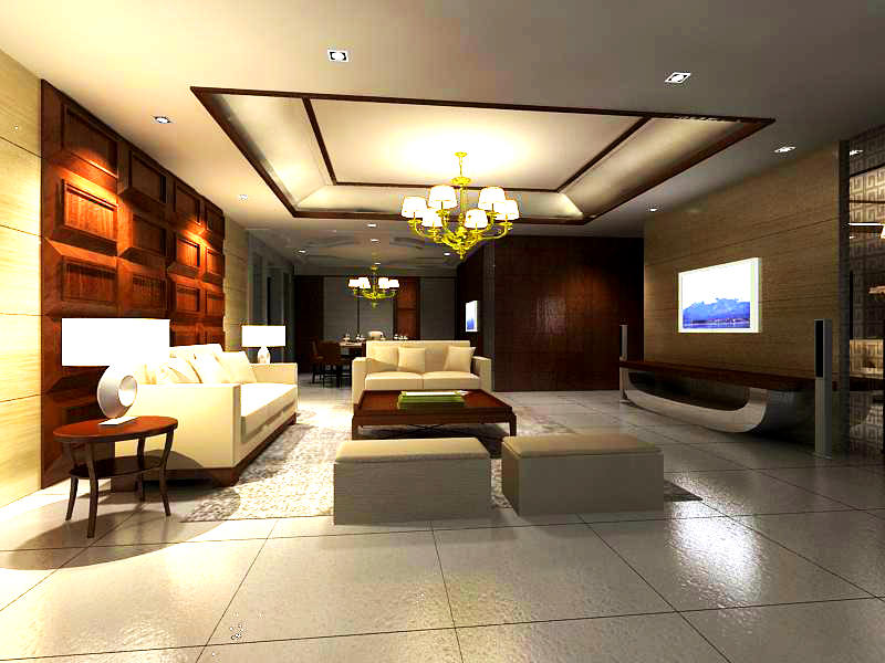 Living hall with wooden decoration 3d model max for Living hall decoration