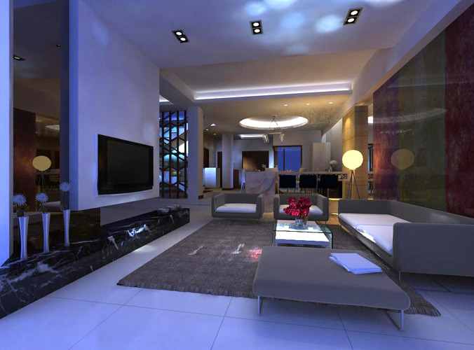 3d living hall with fancy lighting cgtrader for Living hall interior