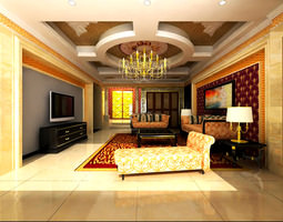 3d living space with grand decoration