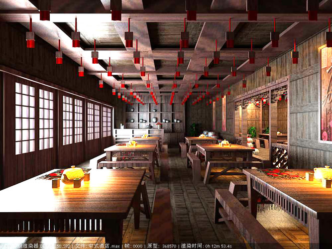 Modern restaurant with authentic interior d model max