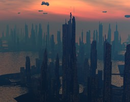 3D model Scifi City Island