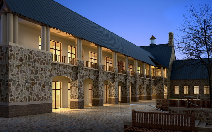 Authentic Building For Hotels 3d Cgtrader