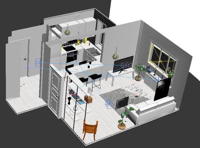 Kitchen living room 3d model max for Kitchen room model