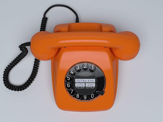 retro telephone fetap 611 3d model max obj 1