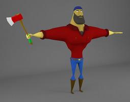 Ricardo the lumberjack - fully rigged 3D model