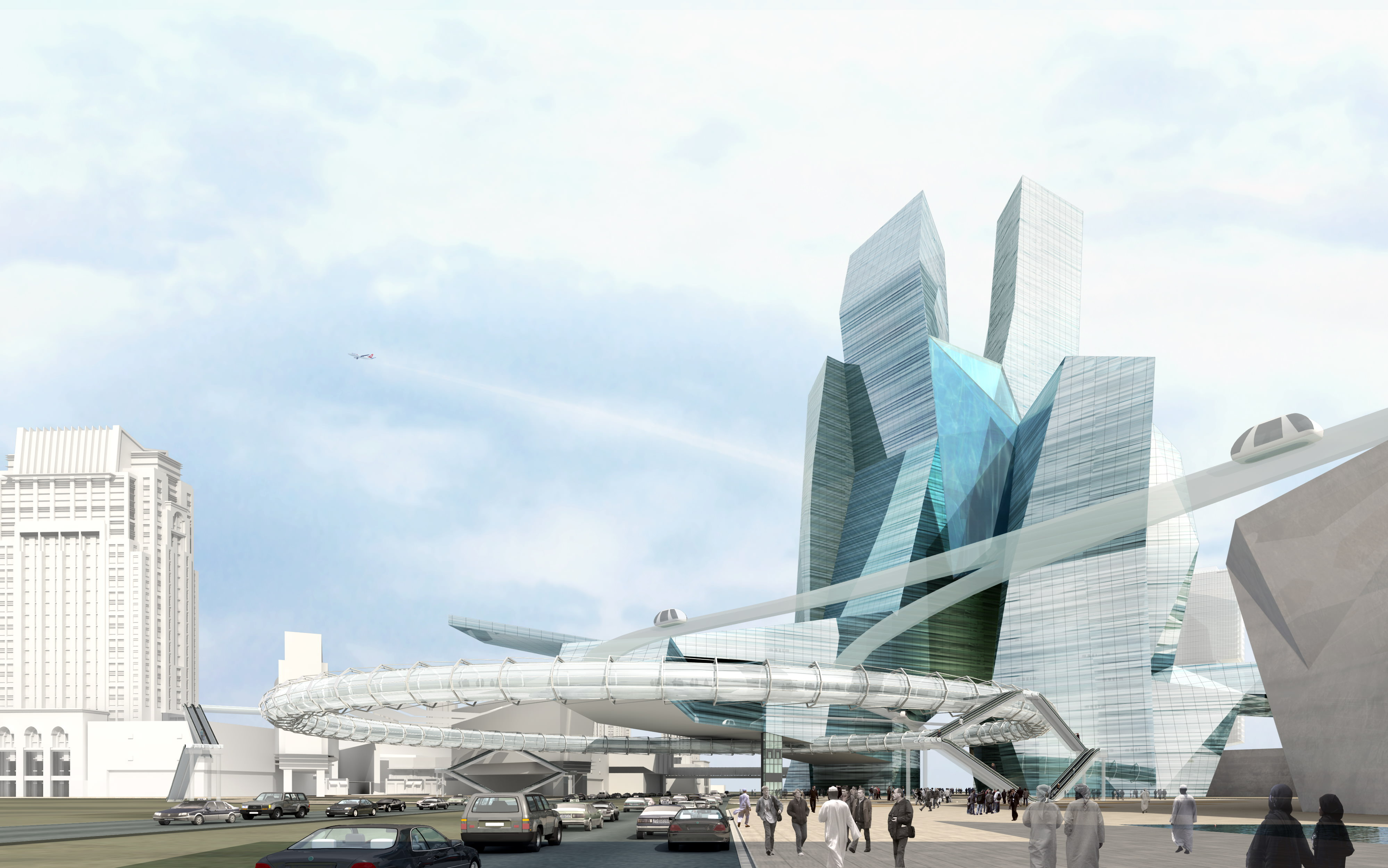Modern cityscape with futuristic building 3d model max for Construction 3d