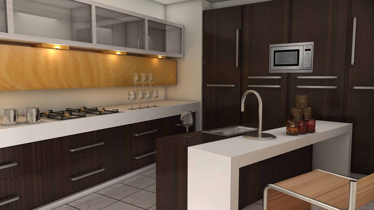 Modular Kitchen Interiors 3d Model Modular Kitchen Vr Ar Low Poly Max Fbx Cgtradercom