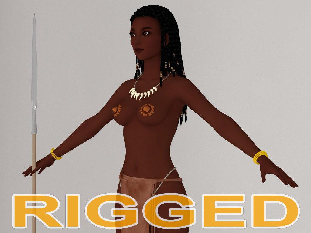 T pose rigged model of tribal girl Ashuna
