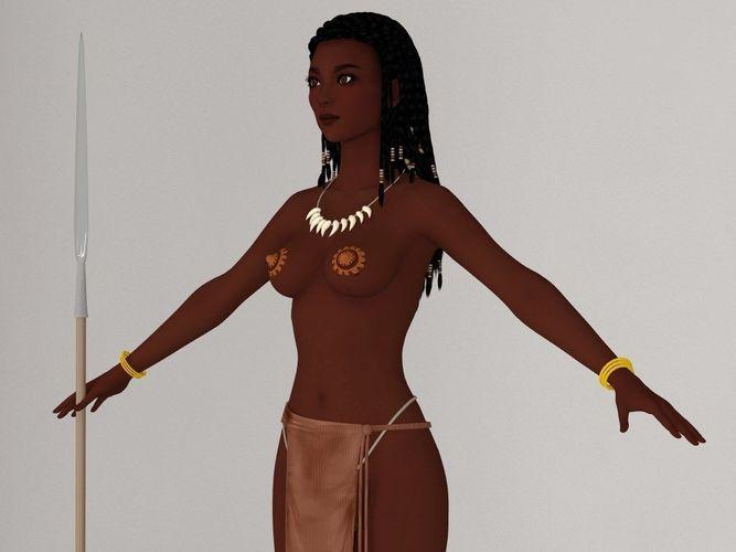 t pose nonrigged model of tribal girl ashuna 3d model rigged max fbx 1