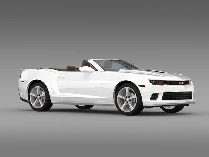 White Chevrolet Camaro Ss Convertible 2017 Model Max Obj Mtl S Fbx C4d Lwo Lw