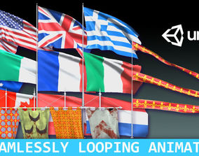 3D model Animated Flags and Banners