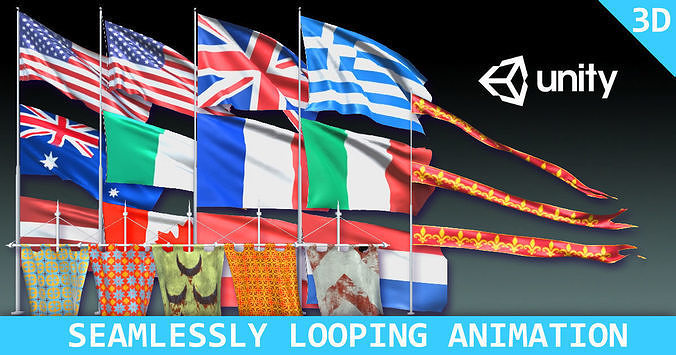 367a5bb4329 animated flags and banners 3d model unitypackage prefab 1