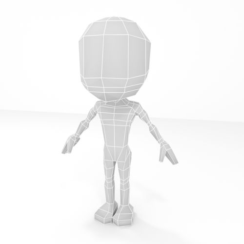 male cartoon low-poly character base mesh 3d model low-poly obj fbx blend mtl 1