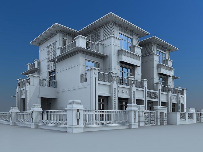 3d model villa building cgtrader for Villas 3d model
