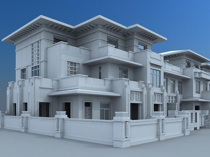 Villa building 3d model max for Villas 3d model