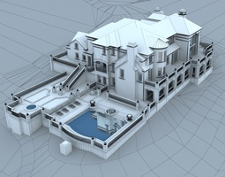 3d models luxury contemporary house 3d model max obj for Swimming pool 3d model free download