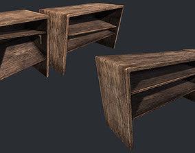 Old Wooden Bookcase 3D asset