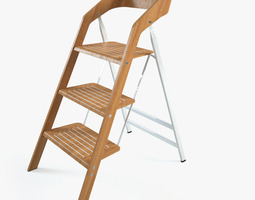 3d vintage usit stepladder chair 3-step version