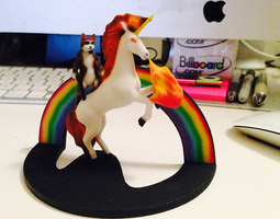 3d print model cat with gun riding firebreathing laser unicorn and rainbow