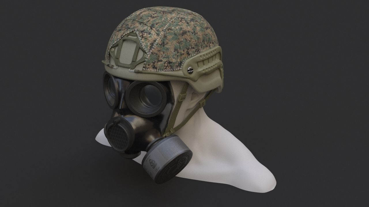 Military helmet and Gas mask