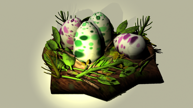 dinosaur nest eggs 3d model low-poly obj fbx 1