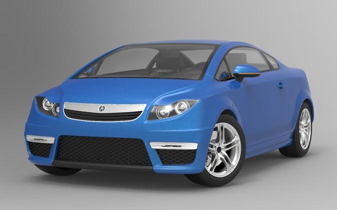 acura city car concept 3d model max obj 3ds fbx 1