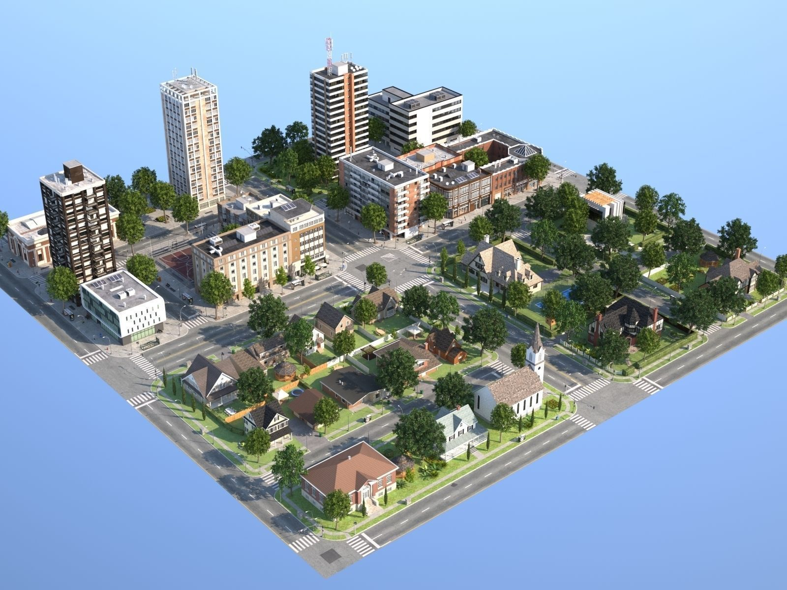 Town with suburb