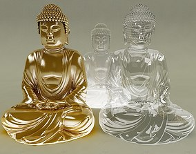 Gold Glass Ice Buddha 3D