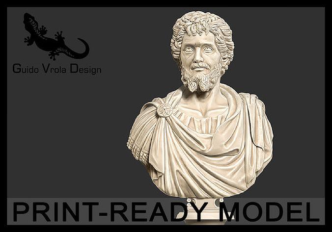 printable bust of septimius severus emperor 3d model obj stl 1
