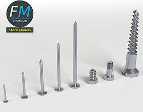 3D model Iron Nail and Screws set