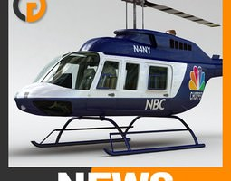 helicopter - news bell 206l with interior 3d model max obj 3ds fbx c4d lwo lw lws