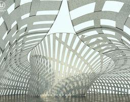 3D asset VR / AR ready Futuristic Pavilion