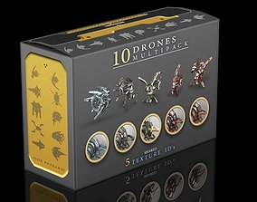 10 Drones Multipack 3D model game-ready