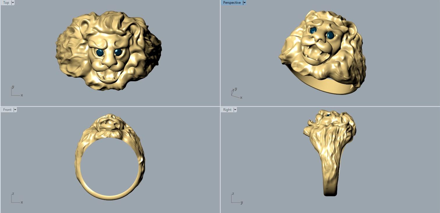 Ring Lion 3d Model 3d Printable Stl Cgtrader Com