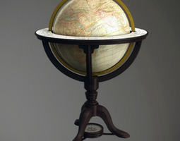 3D Vintage old world globe