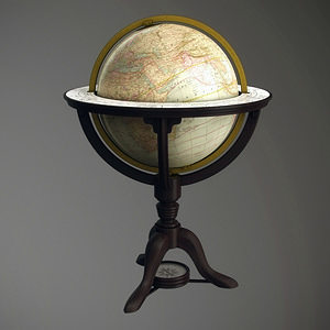vintage old world globe 3d model obj mtl 1