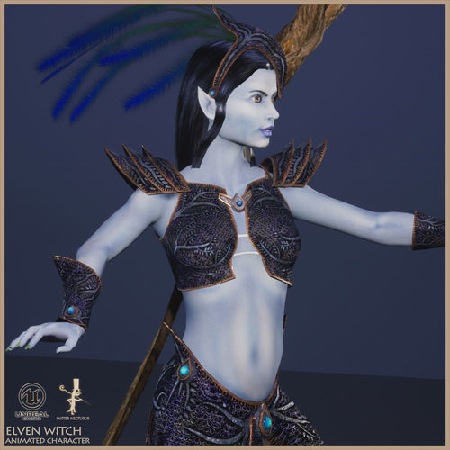 elven witch 3d model low-poly rigged animated max obj mtl fbx dae unitypackage prefab uasset 1