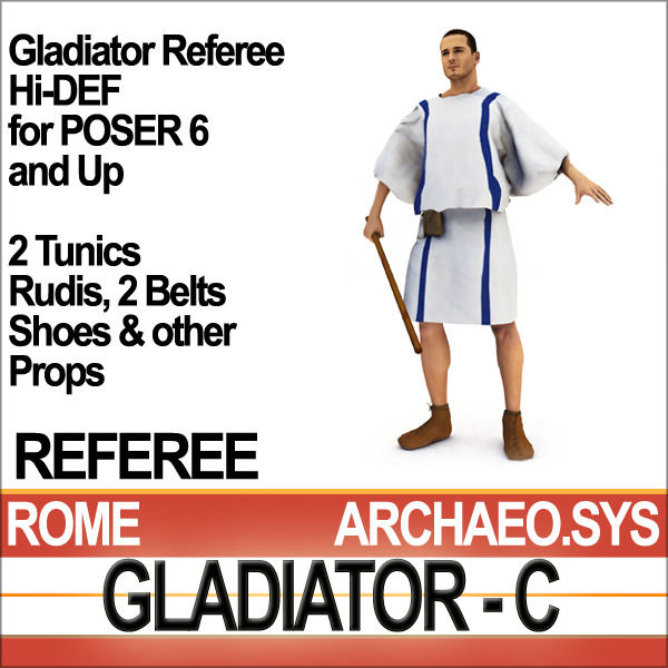 Roman Gladiator Referee Props Poser Daz
