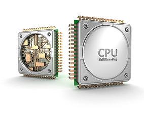 Central computer processors CPU 3D model