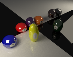 3D model Biiard Balls Rigged for Bouncing